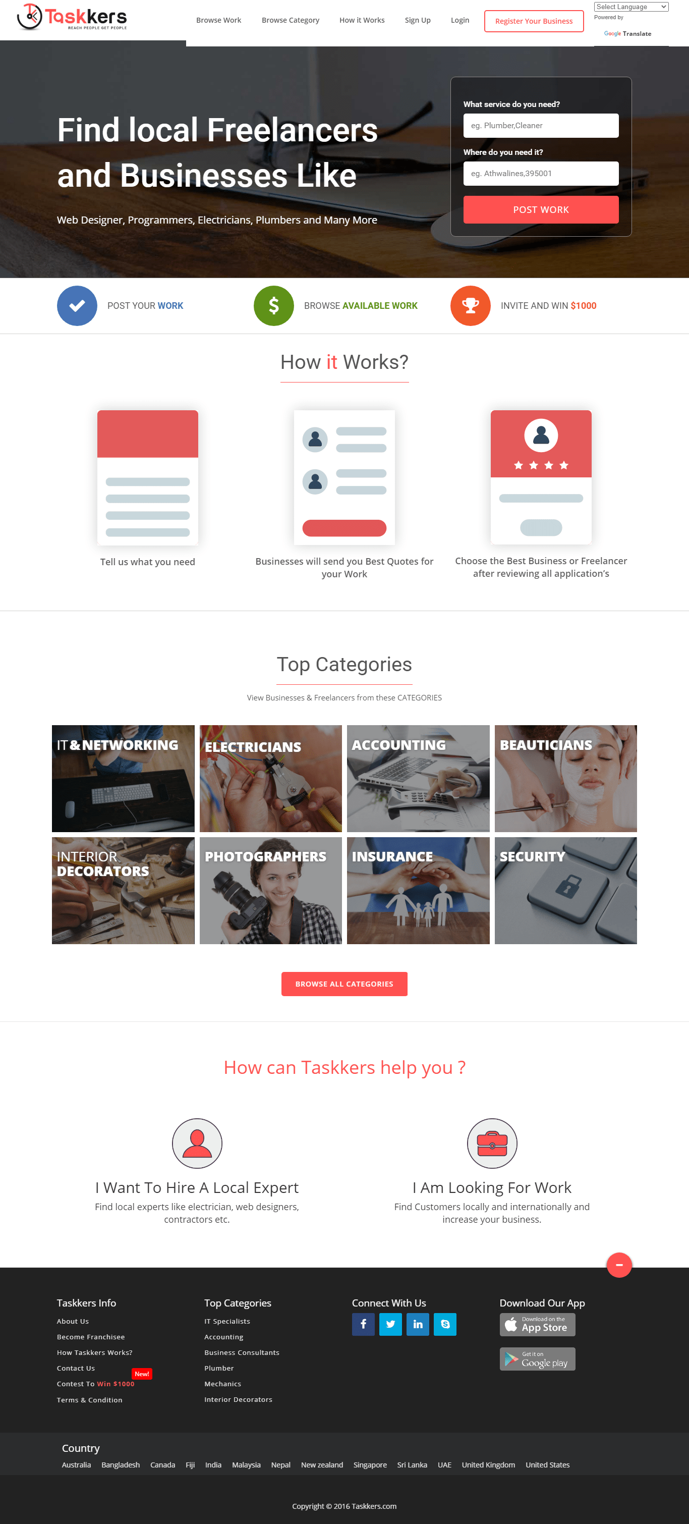 Professional Freelancer Website template and Android/IOS app